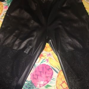 Black PLEATHER lace see thru leggings Small